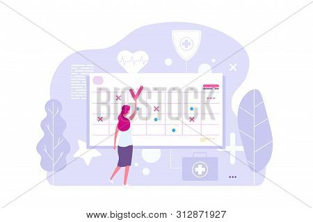 Online Doctor Appointment. Vector Woman And Calendar, Planning Board, Agenda. Illustration Of Calend