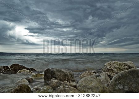 Storm Seascape/ Sea Waves And Dark Clouds/ Beach At The Winter/ Beautiful Natural Landscape/ Stormy
