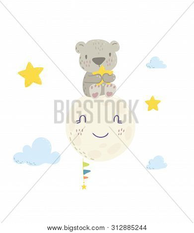 Cute Bear On The Moon Holding A Star Cartoon Flat Vector Illustration For Kids. Perfect For T-shirt