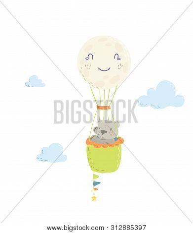 Cute Bear Is Flying In A Hot Air Balloon Cartoon Flat Vector Illustration For Kids. Perfect For T-sh