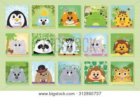 Posters With Animals. Cartoon Animals: Penguin Parrot Tiger Rhino Elephant Monkey Hippo Zebra Panda