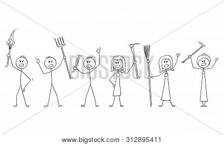 Vector Cartoon Stick Figure Drawing Conceptual Illustration Of Set Of Angry Mob Characters With Torc