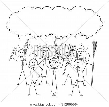 Vector Cartoon Stick Figure Drawing Conceptual Illustration Of Angry Mob Characters With Torch And T
