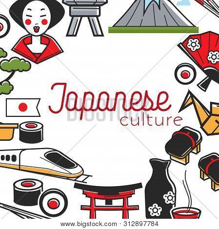 Traveling Japanese Culture Japan Symbols Frame Tourism
