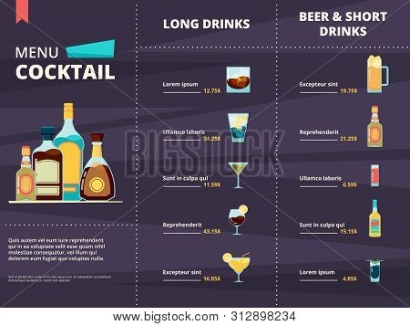Cocktail Menu. Alcoholic Different Corporate Drinks In Restaurant Or Bar Menu Vector Design Template