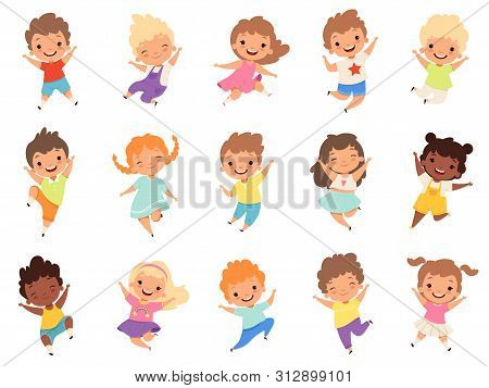Jumping Kids. Happy Funny Children Playing And Jumping In Different Action Poses Education Little Te