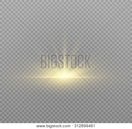 poster of Yellow glowing light burst explosion on transparent background. Vector illustration light effect decoration with ray. Bright star. Translucent shine sun, bright flare. Center vibrant flash