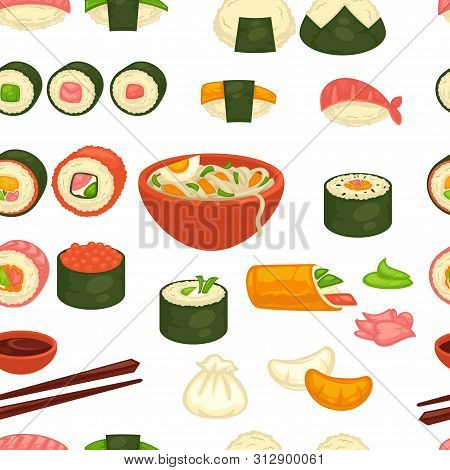 Sushi And Noodles Japanese Cuisine Seamless Pattern Ginger And Wasabi
