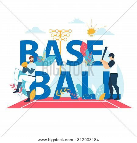 Baseball Banner With Typography, Sportsmen Playing At Championship Competition. Pitcher Throw Ball T