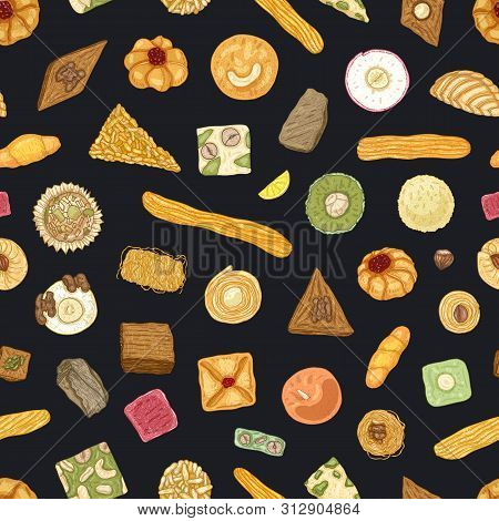 Elegant seamless pattern with traditional oriental confections or sweet pastry on black background. Stylish backdrop with desserts. Realistic vector illustration for wrapping paper, fabric print. poster