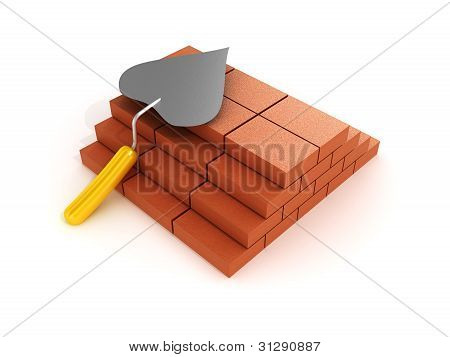 Building A Shovel And Bricks On White Background. 3D Image