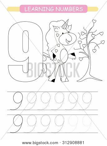Funny Children Flashcard Number Nine. Unicorn With Hearts Learning To Count And To Write. Coloring P