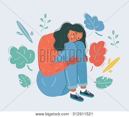 Cartoon Vector Illustration Of Sorrow And Grief. Woman Is Crying. Female Character On White Backgrou