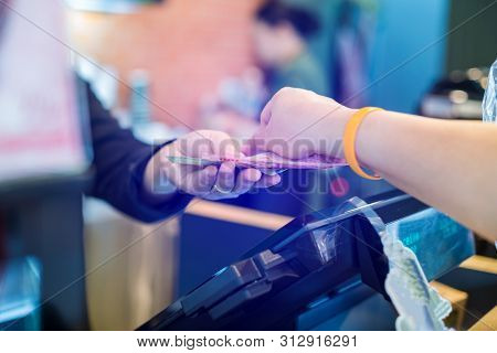 Cashier Take Banknote From Consumer Hand. Hand Paying Money To Worker In Coffee Shop. Saleswoman Rec