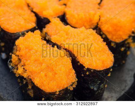 Japanese Sushi,tobiko Sushi Food,tobiko Roe Sushi Fish Egg In A Tray