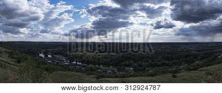 Panoramic View From Mount Kremyanets In Izum, Ukraine. The Valley Of The River Seversky Donets, Gree