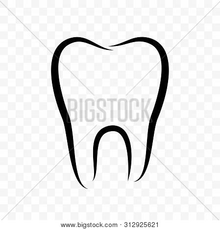 Tooth Outline Vector Icon. Dentistry Clinic, Whitening Toothpaste And Dental Mouthwash Package Label
