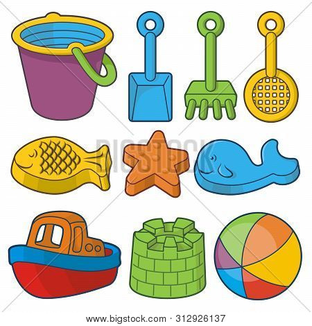 Beach Toys Icon Set. Bucket, Fish Sand Molds, Toy Shovels, Ship And Beach Ball.