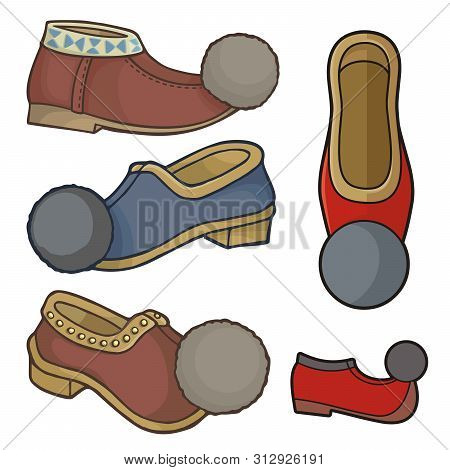 Traditional Greek Tsarouchis, Folk, Leather Moccasin Like, Shoes With Pompons.
