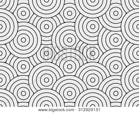 Abstract Circle, Line Seamless Pattern. Neutral Monochrome Business Background, Black Grey Color. Li