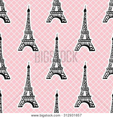 Eiffel Tower Seamless Pattern In White Pink Grid Background. Vector Girlish Surface Design.