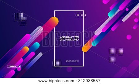 Geometric Background Flat Layout Template On Purple Gradient Backdrop. Modern Style Future Poster Te