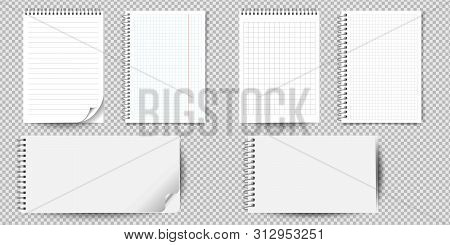 Realistic Notebook Or Notepad With Binder Isolated. Memo Note Pad Or Diary With Lined And Squared Pa