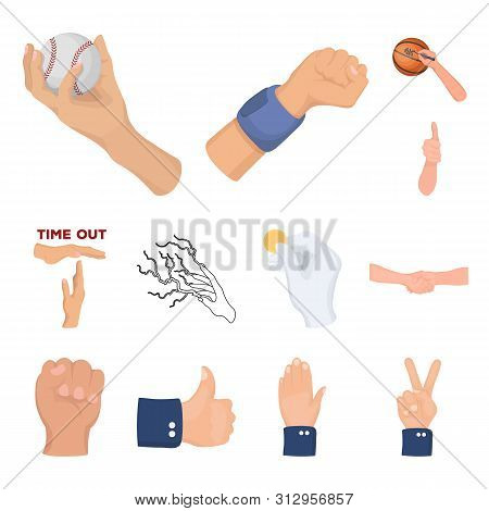 Bitmap Design Of Animated And Thumb Sign. Set Of Animated And Gesture Stock Symbol For Web.