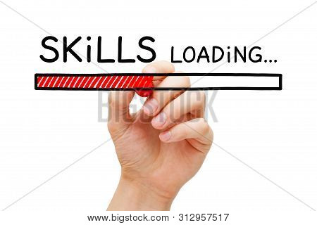 Hand Drawing Skills Development Loading Bar Concept With Marker On Transparent Wipe Board.