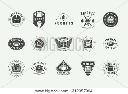 Set Of Vintage Rugby And American Football Labels, Emblems, Badges And Logo. Vector Illustration.