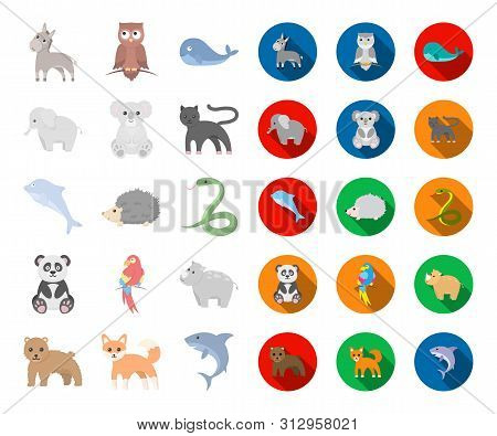 An Unrealistic Animal Cartoon, Flat Icons In Set Collection For Design. Toy Animals Bitmap Symbol St