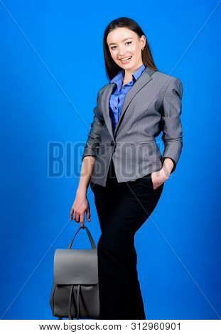 Business. Shool Girl With Knapsack. Stylish Woman In Jacket With Leather Backpack. Girl Student In F