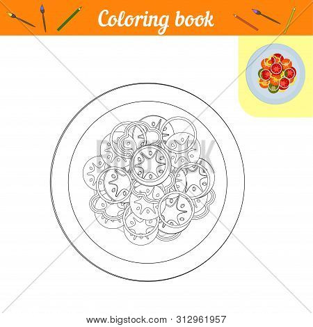Coloring Book. Vegetables On A Plate. Painting Lunch Or Dinner. Page Of Black And White Lines With A