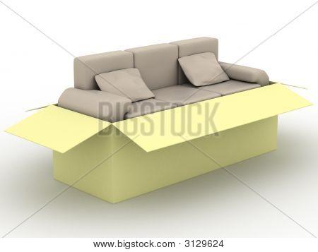 Кожаный диван в упаковочной коробке. 3D изображение.