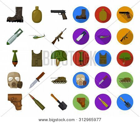 Army And Armament Cartoon, Flat Icons In Set Collection For Design. Weapons And Equipment Bitmap Sym