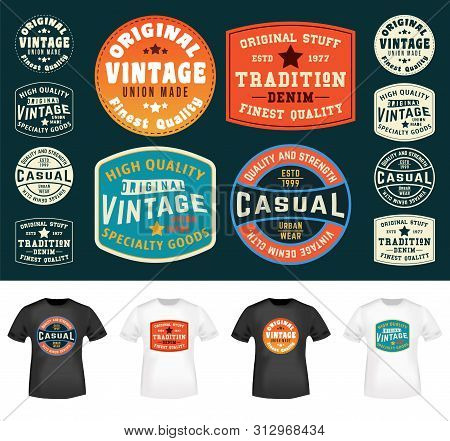 Set Of Colorful T-shirt Stamps Design For Tee Applique, Badge, Tag, Label Clothing, Jeans, And Casua