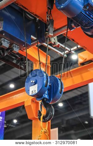 Steel Hook And Chain Of Electric Crane In Factory Industry