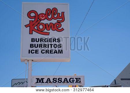 Bridgeport, California - July 12, 2019: Exterior Of The Jolly Kone Ice Cream And Massage Parlour, Fa