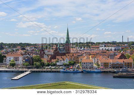 Helsingor, Denmark - July 23, 2019: View Of The City By Oresund Strait, Panorama From Kronborg Castl