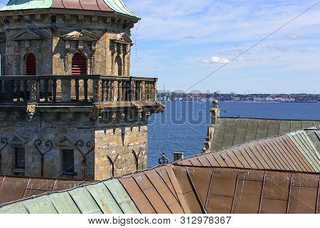 Helsingor, Denmark - July 23, 2019: Medieval Kronborg Castle On The Oresund Strait, Baltic Sea