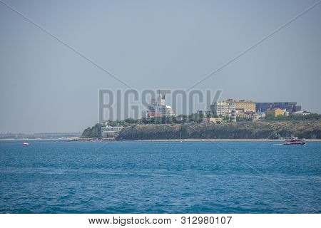 Anapa, Russia - June 17, 2019: Panoramic View Of The Sea Coast. On The Left Bay, On The Right The Se