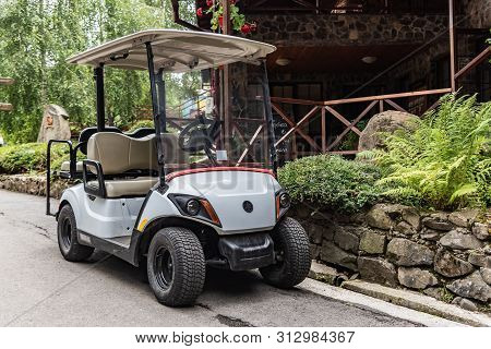 Turia Paseka, Ukraine - July 23, 2109: Golfmobile For Transportation Of Tourists And Athletes In The