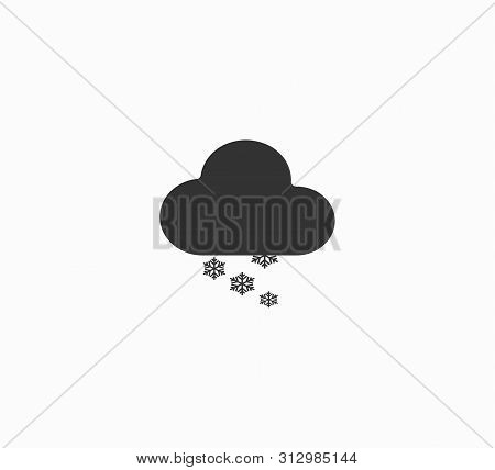Flat Design Vector Illustration Of A Weather Forecast - Cloud And Snow, Snowy Winter Weather, Blizza