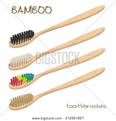 Bamboo Toothbrushes. Varicoloured, Natural Bristle. Zero Waste, Biodegradable Material. Eco-friendly