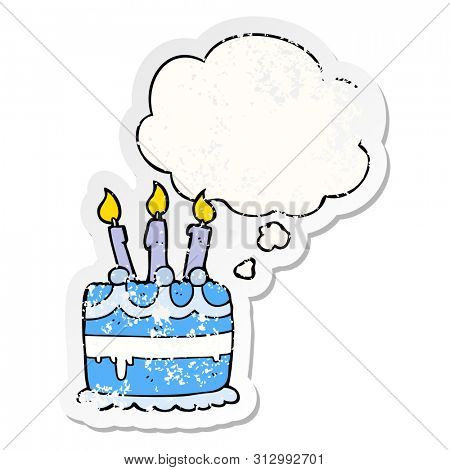 cartoon birthday cake with thought bubble as a distressed worn sticker