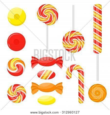 Cartoon Color Sweetmeats Set Different Types Set. Vector