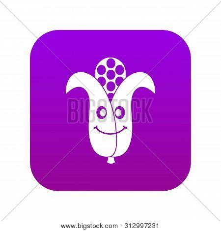 Fresh Smiling Corncob Icon Digital Purple For Any Design Isolated On White Vector Illustration