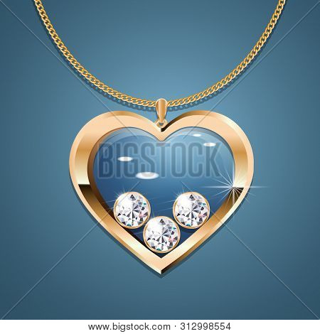 Necklace With Heart Pendant On A Gold Chain. With Three Gold-set Diamonds. Decoration For Women. Iso