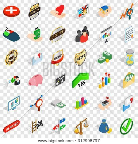 Advantage Icons Set. Isometric Style Of 36 Advantage Vector Icons For Web For Any Design