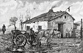 """Village Hotel. Engraving by Flyugel  from picture by  Kravchenko. Published in magazine """"Niva"""", publishing house A.F. Marx, St. Petersburg, Russia, 1888 poster"""